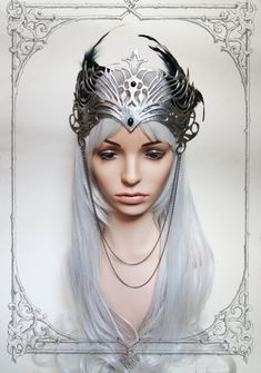 Elven Crown Fantasy Larp Medieval by BlackUnicornShop on Etsy Larp, Headdress, Headpiece, Outer Space Costume, Elven Princess, Queens Tiaras, Fantasy Costumes, Fantasy Outfits, Fairy Clothes