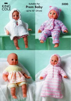 baby doll knitting pattern pdf dolls clothes dolls outfits poncho sleeping bag angel top trouser suit 18 inch doll reborn Instant download by Minihobo on Etsy