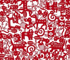 paper zodiac fabric by scrummy on Spoonflower - custom fabric. The paper-feel is geat, and the artist has added personal flair to each of the traditional Chinese zodiac animals.