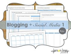"Blogging & Social Media Printable Pack 1 - INSTANT DOWNLOAD. Finally, a plan for the ""work"" that doesn't seem like work."