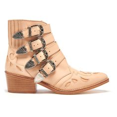 Toga Pulla Women's Buckle Side Leather Heeled Ankle Boots - Beige (515 CAD) ❤ liked on Polyvore featuring shoes, boots, ankle booties, beige, heeled boots, cowboy boots, short boots, low heel boots and buckle ankle boots