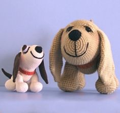 This pattern contains instructions to make Henry, the Amigurumi Hound Dog, in two versions. Dog A is crocheted from DK or sport weight yarn with a size 0 (3.25mm) steel hook, and has plastic safety eyes and traditional features, while Dog B is crocheted with size 10 crochet thread and a size 7 (1.65mm) hook, and has exaggerated features with bulbous crocheted eyes. Of course you can use any thread or yarn with the appropriate size hook, just make sure that you adjust the size of the eyes if…