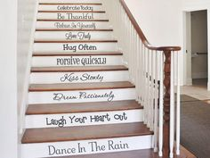 Stair Decals, Words to Live by, Family Vinyl Wall Decals, Hug Often, Kiss Slowly, Vinyl Lettering, Wall Art, Wall Words, Home Decor CE108 by CreativeExpressionsz on Etsy https://www.etsy.com/listing/252803636/stair-decals-words-to-live-by-family