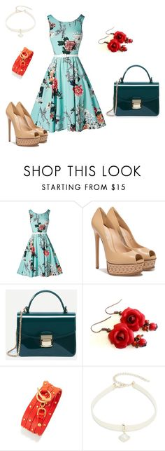 """Blue & Flower"" by dialt-troffi on Polyvore featuring мода, Casadei, WithChic, Tory Burch, Design Lab, Blue, Flowers и amour"