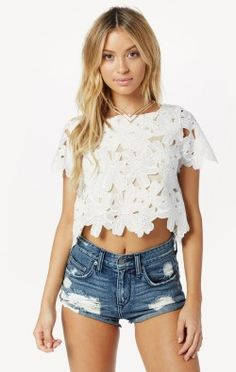 Find a sweeter side in the Cap Sleeve Cropped Top by Liv. Features lace insets add feminine on a cropped voile top with short sleeves and lining. Wear it with some high-waisted denim or a maxi skirt on a date with your main squeeze or backyard BBQs. Cute Outfits With Shorts, Crop Top Outfits, Short Outfits, Sexy Outfits, Summer Outfits, Fashion Outfits, Sexy Shorts, Women's Fashion, California Style Outfits
