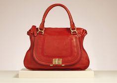 "Chloe ""Marcie Lock"" medium shoulder bag in holly berry soft grained leather"