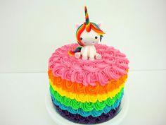 Rainbow Unicorn on a Rainbow Cake - Cake by Laras Theme Cakes