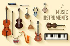 set of flat music instruments icon by Sir.Enity on Creative Market