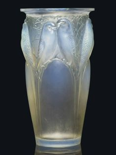 CEYLAN VASE, NO. 905 designed 1924, opalescent and green stained wheel-engraved R. LALIQUE FRANCE