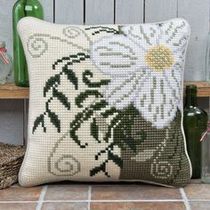 'Corner Flower' Cross Stitch Cushion Kit by Twilleys of Stamford. Sewing Stitches, Hand Embroidery Stitches, Cross Stitch Embroidery, Cross Stitch Heart, Cross Stitch Kits, Cross Stitch Patterns, Beginning Embroidery, Cross Stitch Cushion, Punch Needle Patterns