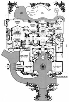 First Floor Plan of Florida Mediterranean House Plan 60419