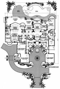 First Floor Plan of Florida Mediterranean House Plan 60419