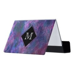 #stylish - #Explosive Office | Monogram Pink Purple Blue Green Desk Business Card Holder