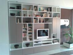 Mobili tarlati ~ Living room: large living room brown bookshelves grey living room
