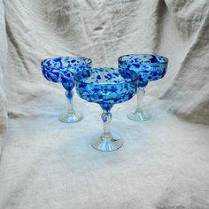 Margarita glass - blue speckle