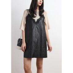 Lace Trim Faux Leather Sling Dress
