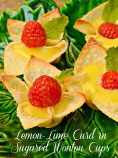 Lemon-Lime Curd in Sugared Wonton Cups at Little Miss Celebration  @Cindy Eikenberg (littlemisscelebration) #summer