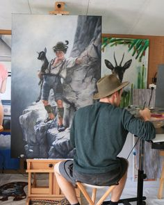 "der ""Bui"" by Günter Leiter in progress, artist, oil on canvas Oil On Canvas, Effort, Artist, Painting, Ladder, Kunst, Pictures, Artists, Painting Art"