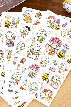 Kawaii Transparent Sticker - Miss Toy [6 sheets]