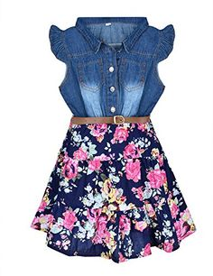 YJ.GWL Girls Dress Swing Skirt Denim Floral Dress with Belt Kids Skirt - Material:Denim and Cotton For ages: Girls (3-10 years old) Please choose the larger one if you are hesitate between two size and please Pay attention it was offered by YJ.GWL.