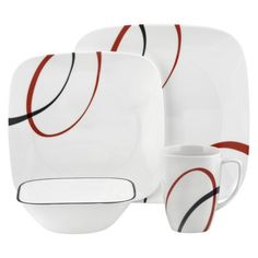 Corelle Square 16-pc. Dinnerware Set - Fine Lines.Opens in a new window