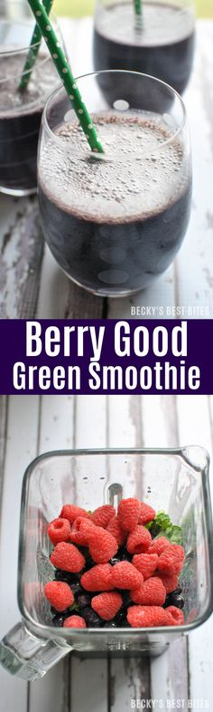 Keep those New Year's resolutions with a Berry Good Green Smoothie. Packed with kale, blueberries and raspberries, it is a superfood and antioxidant powerhouse. | beckysbestbites.com