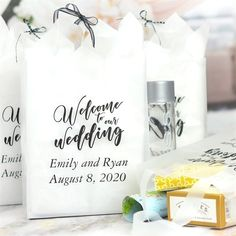 Wedding Gifts For Guests Clear 8 x 10 clear frosted gift bag personalized with Welcome Wedding Bold design, bride and groom's name and wedding date with Garamond Italic letter style in Ebony Matte imprint color - Wedding Welcome Gifts, Wedding Gifts For Guests, Wedding Favors Cheap, Beach Wedding Favors, Wedding Favor Bags, Wedding Wishes, Summer Wedding, Wedding Sparklers, Green Wedding