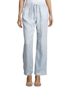Neiman Marcus Linen Striped Drawstring Pants, Blue Stripe, Women's, Size: S, Blue Strip
