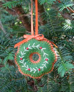 Wool Felt Embroidered Wreath Sugar Cookie by FHGoldDesigns on Etsy, $7.00 #Ornament, #WreathOrnament, #WoolFeltOrnament