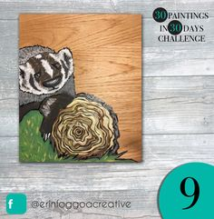 Day 9 is a badger!! A cute rescued badger from the wildlife rehabilitation centre my friend volunteers at.   #badger #art #painting #lovemyjob #artforsale #contest