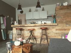 Selfmade bar @my home with cool vintage bar stools