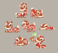 The Seventh Lion, character design that depicts the Chinese cultural art of the Chinese New Year lion dance as a real animal. Chinese Lion Dance, Chinese Art, New Year Illustration, Illustrations, Botanical Illustration, Chinese New Year Dragon, Chinese New Year Design, Lion Drawing, Dancing Drawings