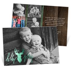 """This Premium Christmas card has double thick paper and a foil-stamped design on both sides! A """"Holly Jolly"""" reindeer decorates the front with room for lots of your favorite photos! This rustic card is great for a down-to-earth family that has lots of photos to share! #holiday #PremiumCards #ChristmasCards"""