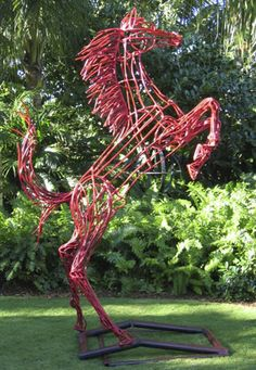 ~ TOPIARY FORMS RESOURCE ~  Prancing horse topiaryform. Wire forms or wire sculpture for museum, resortor home.  http://www.topiaryjoe.com/#