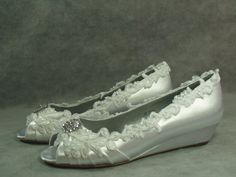Wedding Wedge Shoes Crystals Lace Satin White or by NewBrideCo, $148.00