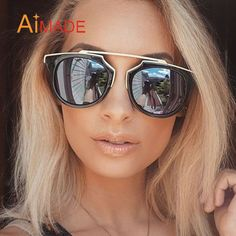 6718e54fb8 Aliexpress.com   Buy Aimade Fashion Vintage Cat Eye Sunglasses Women Brand Mirror  Sun Glasses Unique Retro Metal Female Shades Coating Lens Oculos from ...