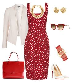 A fashion look from July 2015 featuring red polka dot dress, open front jacket and leather pumps. Browse and shop related looks. Mode Outfits, Dress Outfits, Fashion Outfits, Womens Fashion, Dresses, Fashion Tips, Classy Outfits, Stylish Outfits, Beautiful Outfits