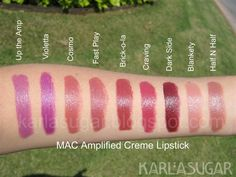 MAC, lipstick, Amplified Creme, swatches, Up the Amp, Violetta, Cosmo, Fast Play, Brick-o-la, Craving, Dark Side, Blankety, Half N Half