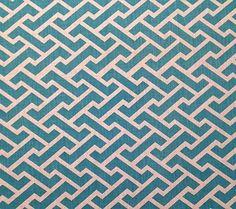 China Seas Fabric: Aga Reverse - Custom Turquoise on White 100% Belgian Linen