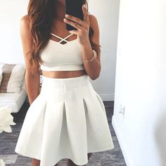 Skirt: two piece dress set two-piece set crop tops white crop tops white midi high waisted summer