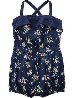 Floral-Print Jersey Rompers for Baby..I think this would look adorable with a cute denim jacket!