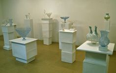 installation of objets d'art made from recycled plastic bottles by Shari Mendelson