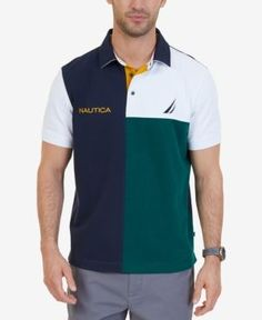 Nautica Men's Classic-Fit Colorblocked Heritage Polo, a Macy's Exclusive Style - Blue XXL Polo Rugby Shirt, Mens Polo T Shirts, Boys T Shirts, Mens Tees, T Shirt Logo Design, Polo Shirt Design, Camisa Polo, Diesel Shirts, Mens Clothing Styles