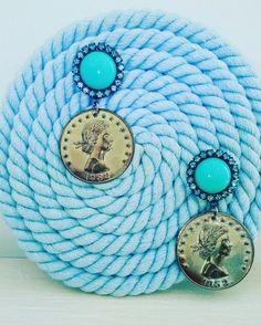 diy rope cyrcle , coin earrings
