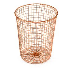 Cabo Waste Paper Bin Hand Woven Wire In Solid Copper Burnished ($47) ❤ liked on Polyvore featuring home, home decor, small item storage, wire waste basket, colored trash cans, wire home decor, copper home accessories and copper home decor