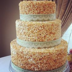 A complete rice crispy and marshmellow wedding cake.