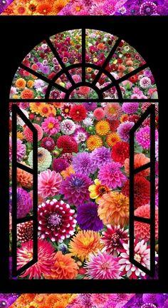 Digital Garden Stunning Dalia Flower Window 24x44 Cotton Fabric Panel. Get it now at 4my3boyz Fabrics!