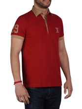 Polo homme manches courtes rouge doublure caramel