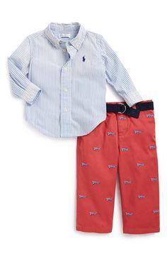 Ralph Lauren Cotton Poplin Shirt & Schiffli Pants (Baby Boys) available at #Nordstrom