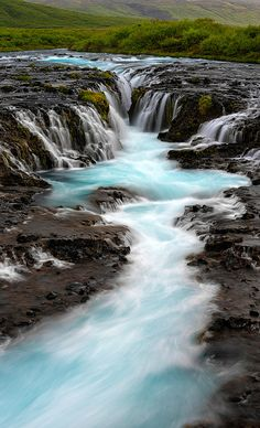 """""""Blue River""""  The incredible Bruarfoss Waterfall, Iceland. - Seattle Fine Art Nature Photographer (Justinreznick)"""
